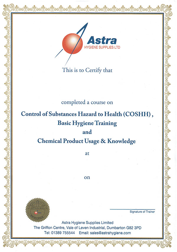 Astra Hygiene Training Certificate