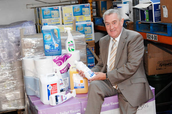 George with his cleaning products at Astra Hygiene Supplies Ltd