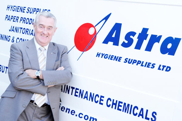 The owner George of Astra Hygiene Supplies Ltd with his one of his delivery vans. Suppliers of Chemicals, Paper Products, Janitorial, Glassware, Bar Supplies and Tabletop